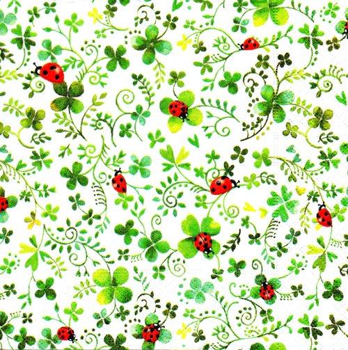 แนวภาพดอกไม้ ภาพกิ่งไม้ดอกลายกับเต่่าทองตัวน้อย ภาพโทนสีขาวเขียว เป็นภาพกระจายเต็มแผ่น กระดาษแนพกิ้นสำหรับทำงาน เดคูพาจ Decoupage Paper Napkins ขนาด 33X33cm