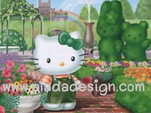 กระดาษสาพิมพ์ลาย สำหรับทำงาน เดคูพาจ Decoupage แนวภาำพ hello kitty ในชุดเอี๊ยมสีเขียวสดใส เดินเล่นอยู่ในสวนอังกฤษ ที่ตัดแต่งต้นไม้เป็นตัว Hello Kitty (ปลาดาวดีไซน์)