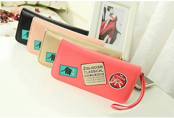 กระเป๋าสตางค์แบบยาว ใส่มือถือได้ สไตล์เกาหลีน่ารัก มีสายคล้องมือ