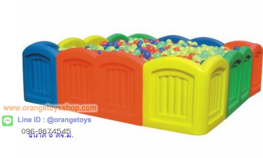 ( รั้วกั้น )คอกบอล บ่อบอ สี่เหลี่ยม ขนาดใหญ่ บ่อบอลสี่เหลี่ยมขอบมน ขนาด 6 ตร.ม. เหมาะสำหรับเด็กอายุ 2-6 ปี ไม่รวมบอล