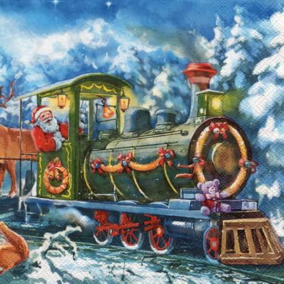 แนวภาพ Christmas รถไฟของขวัญซานเต้า กระดาษแนพกิ้นสำหรับทำงาน เดคูพาจ Decoupage Paper Napkins เป็นภาพแนวยาว ขนาด 33X33cm