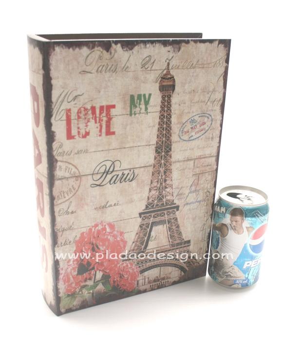 กล่องเก็บของทรงหนังสือแนววินเทจ ขนาดกลาง M ลาย Love My Paris