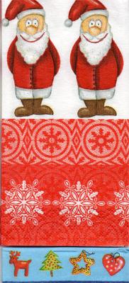 แนวภาพเทศกาล แซนต้าครอสยืนหันหน้าหันหลัง กับลายแต่งสีแดง ภาพลายกระจายเต็มแผ่น กระดาษแนพคินสำหรับทำงาน เดคูพาจ Decoupage Paper Napkins ขนาด 21X22cm