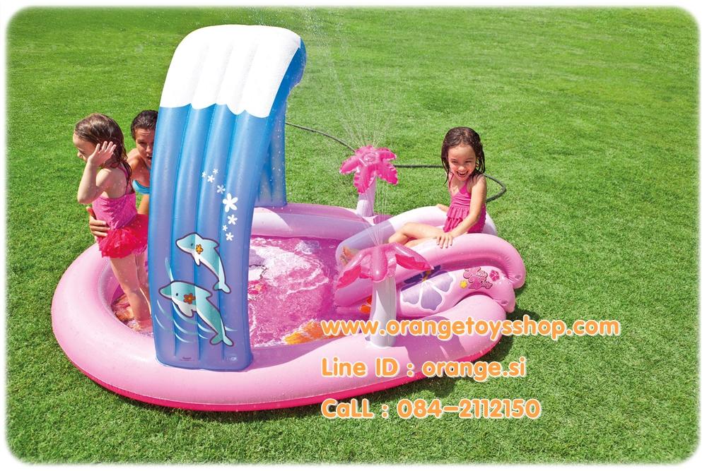 สวนน้ำ Play Center สระน้ำเป่าลม พร้อม สไลด์เดอร์ Hello Kitty