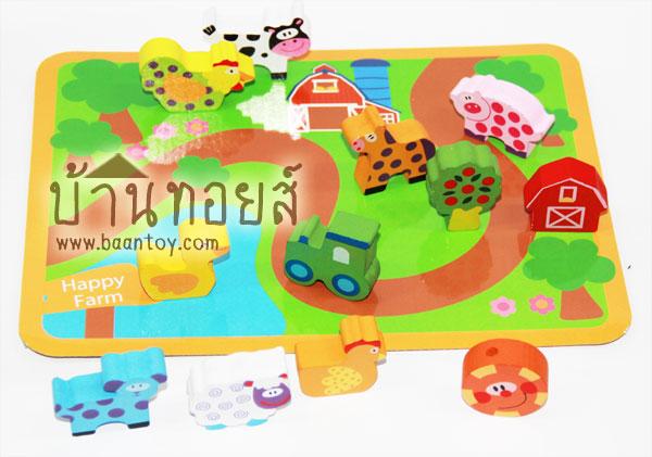ของเล่นไม้เสริมพัฒนาการ ร้อยเชือกลูกปัดไม้ ฟาร์มสัตว์