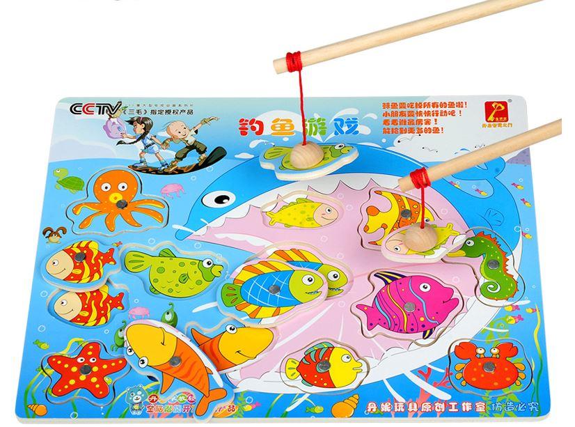 ของเล่นไม้เสริมพัมนาการ จิ๊กซอว์ไม้แม่เหล็กตกปลาและเพื่อนสัตว์ทะเล