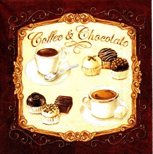 แนวภาพ ป้ายกาแฟกับช๊อคโกแลต ภาพโทนสีน้ำตาล เป็นภาพ 4 บล๊อค กระดาษแนพกิ้นสำหรับทำงาน เดคูพาจ Decoupage Paper Napkins ขนาด 33X33cm