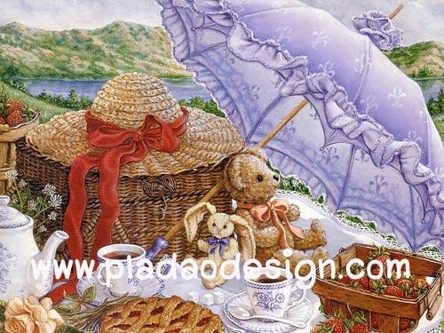 กระดาษอาร์ทพิมพ์ลาย สำหรับทำงาน เดคูพาจ Decoupage แนวภาพ หมี เท็ดดี้แบร์ Teddy bear กับกระต่าย ใต้ร่มสีม่วง (ปลาดาว ดีไซน์)