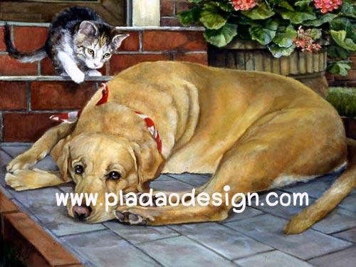 กระดาษสาพิมพ์ลาย สำหรับทำงาน เดคูพาจ Decoupage แนวภาพ ลูกแมวตัวน้อย พยายามปลุกพี่หมาตัวใหญ่มาเล่นกัน