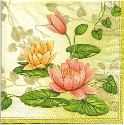 แนวภาพดอกไม้ ดอกบัวสีชมพูส้ม บนพื้นโทนครีม เป็นกรอบเต็มแผ่น กระดาษแนพกิ้นสำหรับทำงาน เดคูพาจ Decoupage Paper Napkins ขนาด 33X33cm