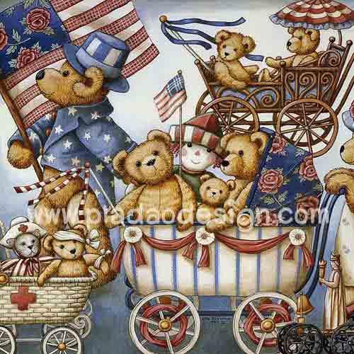 กระดาษสาพิมพ์ลาย rice paper สำหรับทำงาน handmade เดคูพาจ Decoupage แนวภาพ หมี เท็ดดี้แบร์ Teddy bear เดินพาเหรดขบวนรถเข็นเด็ก (pladao design)