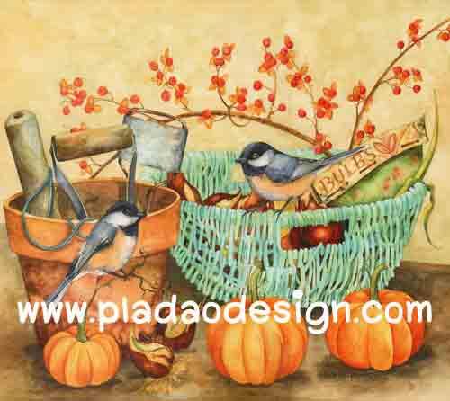 กระดาษอาร์ตพิมพ์ลาย สำหรับทำงาน เดคูพาจ Decoupage แนวภาำพ นกน้อยตัวอ้วนกลม 2 ตัว นั่งเล่นอยู่ในกระถาง กับบุ้งกี๋ปลูกดอกไม้แดง เป็นภาพวาดสีสวยคลาสสิค (ปลาดาวดีไซน์)