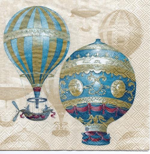 แนวภาพศิลปะ ภาพวาดบอลลูนลายแต่งสีฟ้า ภาพโทนสีครีม เป็นภาพ 4 บล๊อค กระดาษแนพกิ้นสำหรับทำงาน เดคูพาจ Decoupage Paper Napkins ขนาด 33X33cm