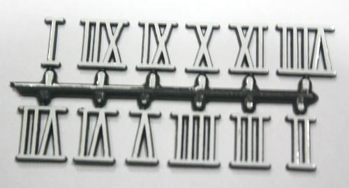 ชุดตัวเลขสำหรับประกอบนาฬิกา เลขโรมัน สีขาวขอบดำ ตัวเลขสูง 15มม. อุปกรณ์ DIY