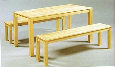 โต๊ะพร้อมเก้าอี้ม้านั่งยาว สีธรรมชาติ (BENCH SET-351209900)