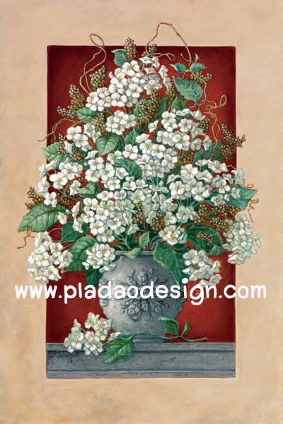 กระดาษสาพิมพ์ลาย rice paper สำหรับทำงาน เดคูพาจ Decoupage แนวภาพ ตกแต่ง บ้านและสวน ดอกไม้สีขาวในแจกันใบใหญ่มว๊าก สไตล์วินเทจ (ปลาดาวดีไซน์)