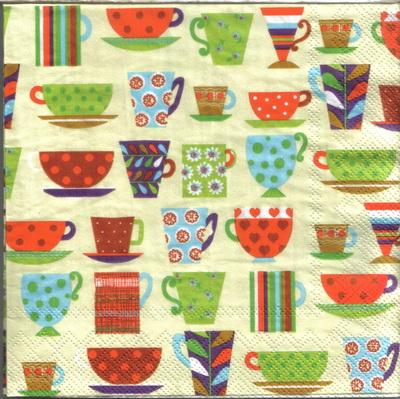แนวภาพอาหาร ลายสัญลักษณ์แก้วกาแฟหลากหลายทรง บนพื้นสีครีม เป็นภาพกระจายเต็มแผ่น กระดาษแนพกิ้นสำหรับทำงาน เดคูพาจ Decoupage Paper Napkins ขนาด 33X33cm
