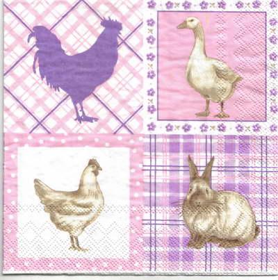 แนวภาพสัตว์ ไก่กระต่ายเป็ดในกรอบลายแต่ง เป็นภาพ 4 บล๊อค ภาพโทนสีชมพู กระดาษแนพกิ้นสำหรับทำงาน เดคูพาจ Decoupage Paper Napkins ขนาด 33X33cm