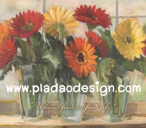 กระดาษสาพิมพ์ลาย สำหรับทำงาน เดคูพาจ Decoupage แนวภาำพ บ้านและสวน ดอกเยียบีร่า 3สี แดง ส้มเหลือง ปักในแจกันแก้วใส เป็นภาพแนวภาพวาด (ปลาดาวดีไซน์)