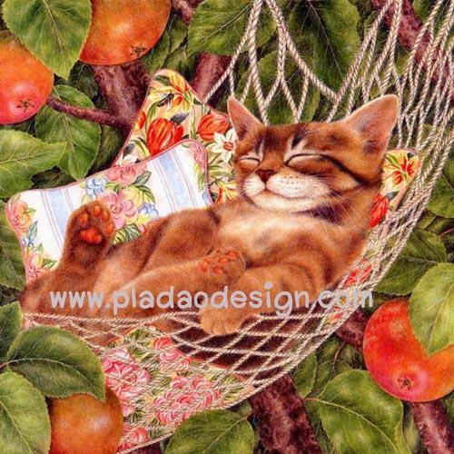 กระดาษสาพิมพ์ลาย สำหรับทำงาน เดคูพาจ Decoupage แนวภาพ แมวขนทองนอนหลับตาพริ้มบนเปลเชือกถัก น่ารักมาก