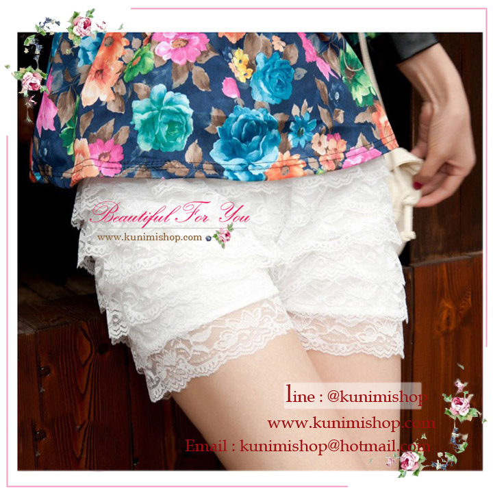 กางเกงขาซับในขาสั้น มี 2 สี ขาว ดำ เอวยางยืด มีผ้าระบายลูกไม้เป็นชั้นๆทั้งตัว สวยหวานคะ
