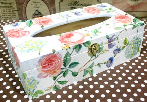 กล่องทิชชูไม้มีล็อค กล่องทิชชูยาว ทรงดอกกุหลาบเลื้อย