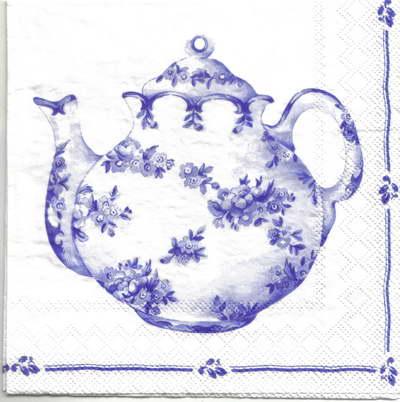 แนวภาพวินเทจ กาน้ำชา กับ ชุดถ้วยชา สีคราม บนพื้นขาว เป็นภาพโทนสีฟ้า เป็นภาพ 2 บล๊อค กระดาษแนพกิ้นสำหรับทำงาน เดคูพาจ Decoupage Paper Napkins ขนาด 33X33cm