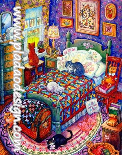 กระดาษสาพิมพ์ลาย สำหรับทำงาน เดคูพาจ Decoupage แนวภาพ การ์ตูนแบบอาร์ตๆ ได้เวลานอน น้องแมวและพวกอยุ่ในห้องนอนสีอย่างแซ่บ