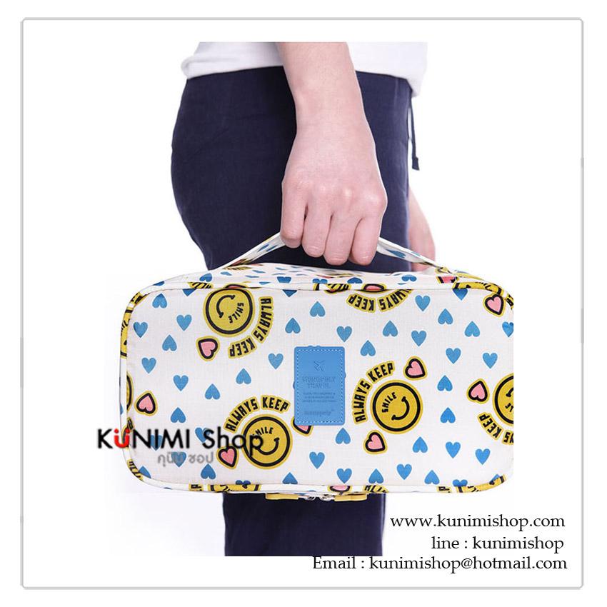 กระเป๋าจัดเก็บสิ่งของ กระเป๋าใส่ชุดชั้นใน กางเกงใน ถุงเท้า ผ้าอ้อมเด็ก ของใช้เด็ก ขนาดกระทัดรัด พกพาเดินทางท่องเที่ยว แบ่งช่องเป็นระเบียบ รุ่นนี้จะมีช่องเก็บของมากขึ้น หยิบใช้งานสะดวก มีซิบเปิด - ปิด พร้อมหูหิ้ว มีให้เลือกหลายลายคะ วัสดุ : เนื้อผ้ากันละอองน้ำ