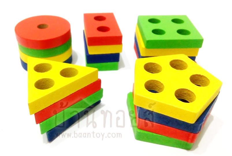 ของเล่นเสริมพัฒนาการ ของเล่นไม้ บล็อคไม้สวมหลักเรขา 5 รูปทรง
