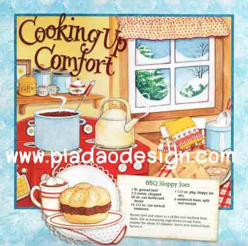กระดาษอาร์ทพิมพ์ลาย สำหรับทำงาน เดคูพาจ Decoupage : Cooking Series - BBQ Sloppy Joes