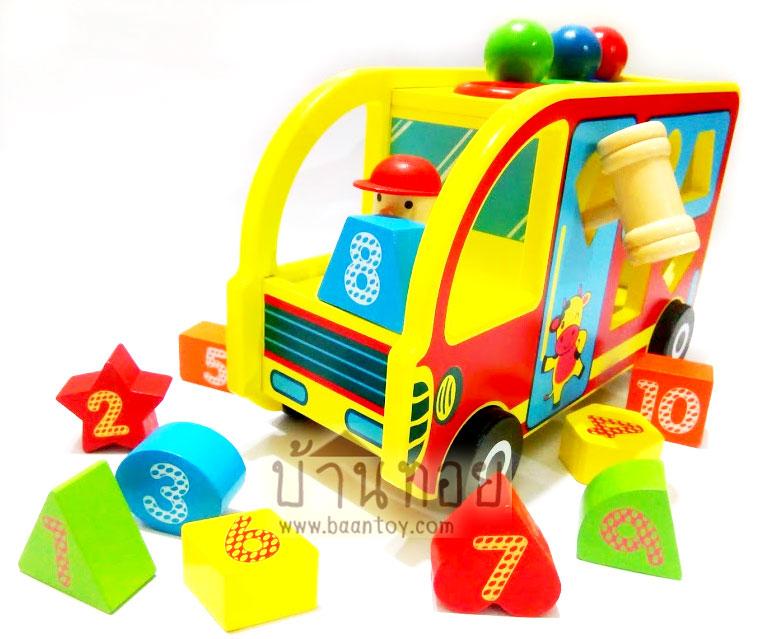 ของเล่นไม้ รถบัสหยอดบล็อค