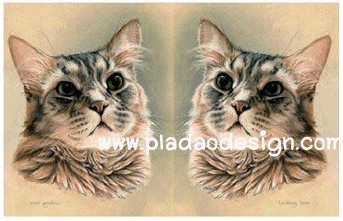 กระดาษสาพิมพ์ลาย rice paper เป็น กระดาษสา สำหรับทำงาน เดคูพาจ Decoupage แนวภาพ แมวเหมียวน้อยกลอยใจทำหน้าสงสัย อะไรเอ่ย เป็นภาพวาดสีน้ำมัน pladao design