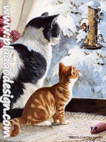 กระดาษสาพิมพ์ลาย สำหรับทำงาน เดคูพาจ Decoupage แนวภาำพ แมว2 วัย 2 สี นั่งมองบรรดานกน้อยเล่นหิมะกันอยู่ที่นอกบ้าน