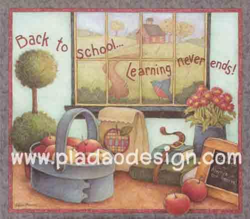 กระดาษอาร์ตพิมพ์ลาย สำหรับทำงาน เดคูพาจ Decoupage แนวภาำพ หวานๆซอฟท์ๆ back to school Learning Never Ends แอปเปิ้ล ในตระกร้าริมหน้าต่าง มีนกน้อยเกาะอยู่ข้างๆ (ปลาดาวดีไซน์)