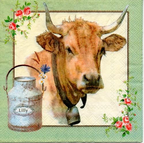 แนวภาพสัตว์ ภาพวาดลงสีวัวพร้อมถังนม พื้นหลังสีครีม ในกรอบสีเขียว เป็นภาพ 4 บล๊อค กระดาษแนพกิ้นสำหรับทำงาน เดคูพาจ Decoupage Paper Napkins ขนาด 33X33cm