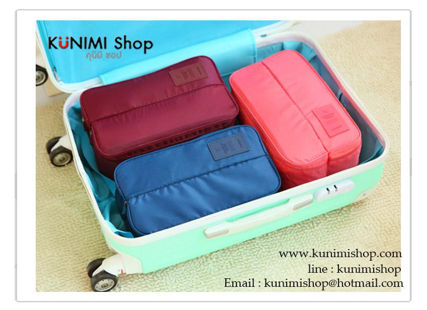 กระเป๋าจัดเก็บสิ่งของ กระเป๋าใส่ชุดชั้นใน มีให้เลือกหลายสี สามารถจัดเก็บกางเกงใน ถุงเท้า และของใช้อื่นๆ ให้เป็นระเบียบ พกพาเดินทางท่องเที่ยว มีช่องใส่ของมากมาย แบ่งช่องเป็นระเบียบ หยิบใช้สะดวกขนาดกระทัดรัด มีหูหิ้วและซิบเปิด - ปิด วัสดุ : ผ้าไนล่อนกันละอองน้ำ ขนาด 30 x 17 x 12.5 ซม.
