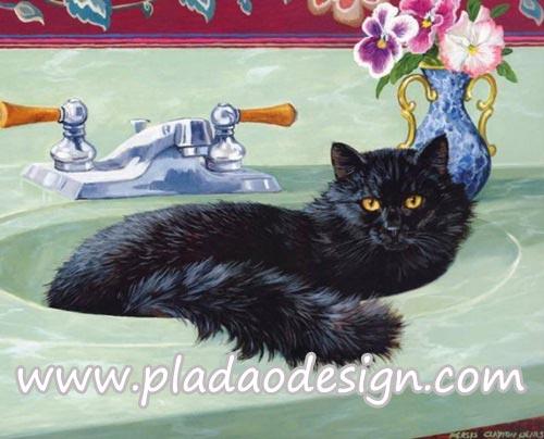 กระดาษสาพิมพ์ลาย สำหรับทำงาน เดคูพาจ Decoupage แนวภาำพ เจ้าแมวน้อยตัวดำนอนสบายๆอยู่บนอ่างล้างหน้าหินอ่อนสีเชียว