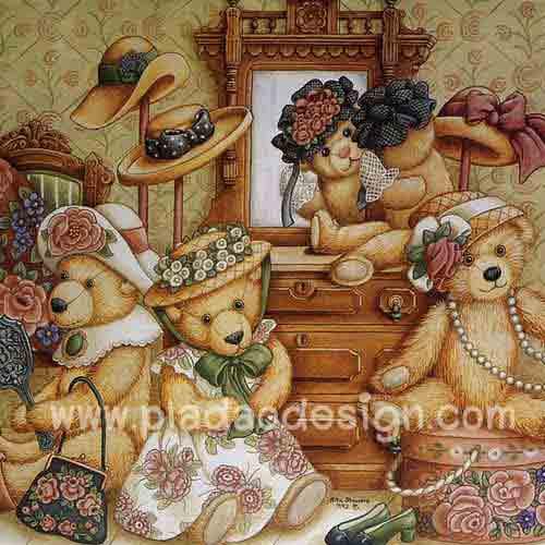 กระดาษสาพิมพ์ลาย สำหรับทำงาน เดคูพาจ Decoupage แนวภาพ หมีเท็ดดี้ แบร์ Teddy Bear สาวๆชวนกันมาแต่งตัวสวยๆ เตรียมไปปาร์ตี้ หน้าโต๊ะเครื่องแป้ง pladao design