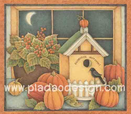 กระดาษอาร์ตพิมพ์ลาย สำหรับทำงาน เดคูพาจ Decoupage แนวภาพ หวานๆซอฟท์ๆ บ้านนกมีรั้วหน้าบ้านตั้งอยู่บนโต๊ะข้างหน้าต่างกะลูกฟักทอง (ปลาดาวดีไซน์) สำเนา