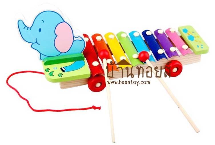ของเล่นไม้ ระนาดไม้ หัวช้างมีล้อลาก