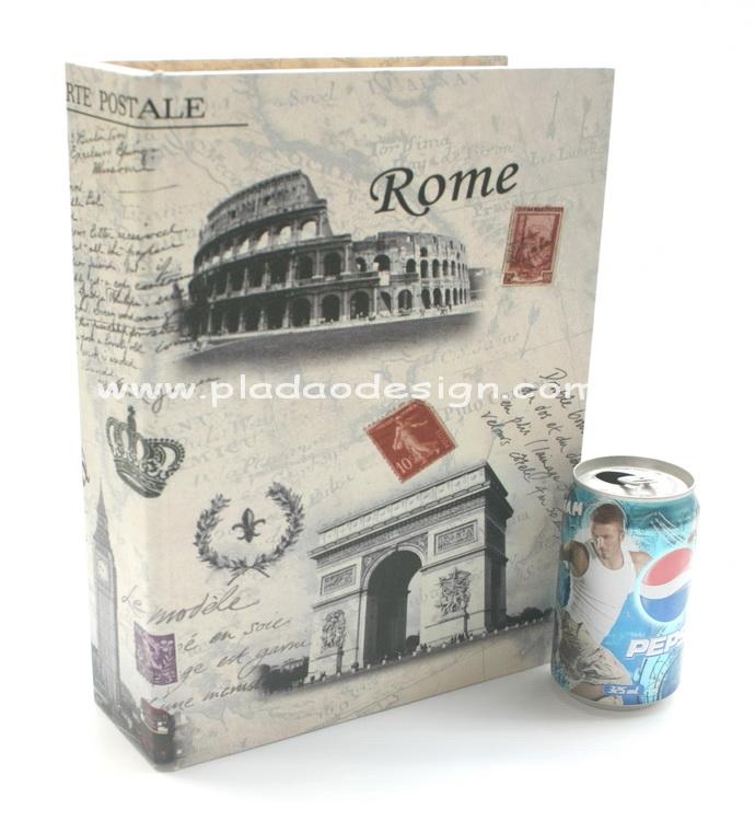 กล่องเก็บของทรงหนังสือแนววินเทจ ขนาดใหญ่ L ลาย Postcard Rome Paris Pisa