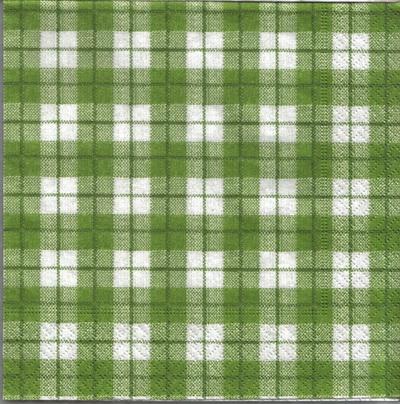 แนวภาพลายแต่ง ตารางสก๊อตสีเขียวแซมขาวตัดด้วยเส้นเขียว ภาพโทนสีเขียว เป็นภาพเต็มแผ่น กระดาษแนพกิ้นสำหรับทำงาน เดคูพาจ Decoupage Paper Napkins ขนาด 33X33cm