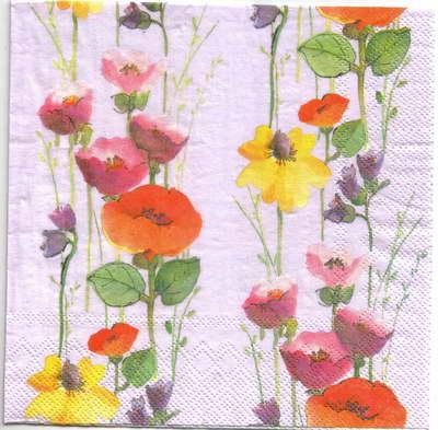 แนวภาพดอกไม้ เป็นช่อดอกป๊อปปี้เป็นสาย บนพื้นสีม่วงอ่อน เป็นภาพเต็ม กระดาษแนพกิ้นสำหรับทำงาน เดคูพาจ Decoupage Paper Napkins ขนาด 33X33cm
