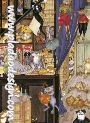 กระดาษสาพิมพ์ลาย สำหรับทำงาน เดคูพาจ Decoupage แนวภาำพ การ์ตูน ร้านขายของเล่น แบบแมวแมว สารพัดแมวให้คุึณเลือกเป็นเจ้าของ