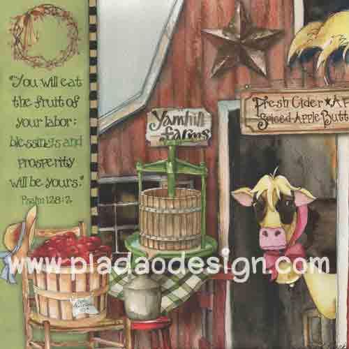 กระดาษอาร์ตพิมพ์ลาย สำหรับทำงาน เดคูพาจ Decoupage แนวภาพ วัวจิ๊กโก๋อยู่ในฟาร์ม มีถังไม้ใส่นม ถังไม้ใส่ผลไม้ (ปลาดาวดีไซน์) สำเนา