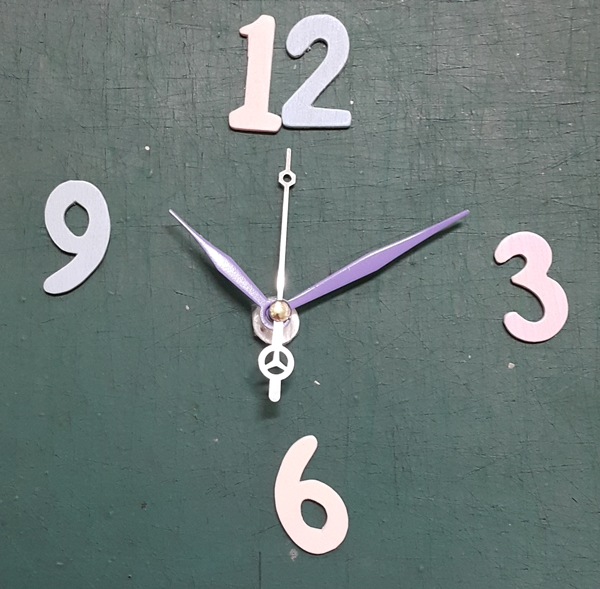ชุดตัวเครื่องนาฬิกาญื่ปุนเดินเรียบ เข็มลายโมเดิน ขนาดเล็ก เข็มสั้น-เข็มยาวสีม่วง เข็มวินาทีสีเงิน อุปกรณ์ DIY