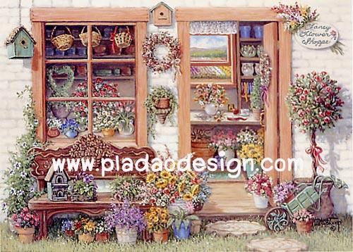 กระดาษอาร์ทพิมพ์ลาย สำหรับทำงาน เดคูพาจ Decoupage แนวภาพ บ้านและสวน ห้องจัดดอกไม้สดๆท่ามกลางสวนสวย (ปลาดาวดีไซน์)