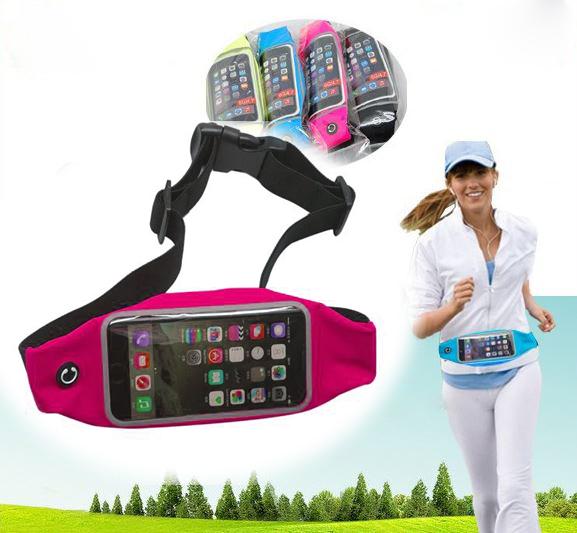 """กระเป๋าแบบคาดเอวแนวสปอร์ตสำหรับใส่มือถือสมาร์โฟนขนาดไม่เกิน 5"""" (สีชมพูสะท้อนแสง)"""