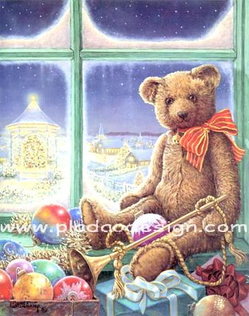 กระดาษสาพิมพ์ลาย rice paper เป็น กระดาษสา สำหรับทำงาน เดคูพาจ Decoupage แนวภาพ พี่หมี เท็ดดี้ แบร์ teddy bear สุดหล่อเป่าแตร เล่นดนตรี ในงานคริสมาสต์ปาร์ตี้ (pladao design)